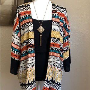 Gorgeous Audrey 3+1  tribal print kimono